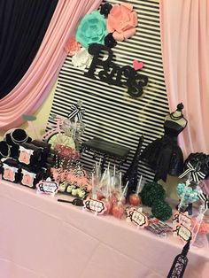 Pink and black Paris birthday party! See more party planning ideas at CatchMyParty.com!