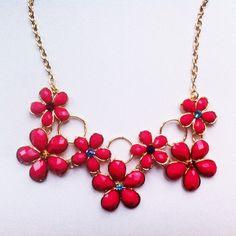 Bright Pink Flower Statement Necklace