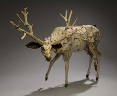 Geoffrey Gorman, artist, creates beautiful animal sculptures using recycled, wood, cloth, metal and found objects.