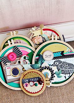 Crate Paper Craft Market Altered Wooden Embroidery Hoop Arrangement | CP Gal Christine Middlecamp