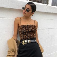 Leopard Print Vest Stop Spaghetti String Top Chunky Belt Black Jeans Autumn Fall Fashion Inspiration Outfit Inspo Stylist Fashion Week, Look Fashion, Fashion Outfits, Womens Fashion, Fashion Trends, Fall Fashion, Fashion Pics, Aesthetic Fashion, Outfits Winter
