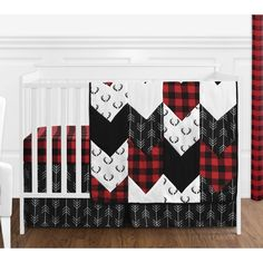 Sweet Jojo Designs Woodland Buffalo Plaid Baby Boy Nursery Crib Bedding Set Without Bumper - 5 Pieces - Red and Black Rustic Country Deer Lumberjack Arrow Red Nursery, Plaid Nursery, Arrow Nursery, Nursery Crib, Deer Themed Nursery, Nursery Ideas, Disney Nursery, Lucas Nursery, Camo Nursery