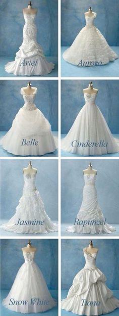Disney inspired wedding dresses, Cinderella, Snow White, and Tiana