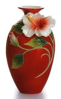Franz Collection Island Beauty Hibiscus Vase.  I have two pieces from this line - a teapot and a bowl. They are even prettier up close...