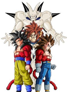 The Omega Shenron saga  Goku, Vegeta and Gogeta ssj4,  Dragon ball gt