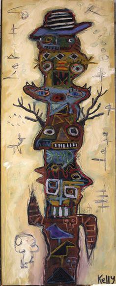 """""""Dark Bird Totem"""" by Santa fe Artist Kelly Moore www.kellymoore.net"""