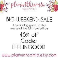 I am feeling good and want to spread the love so this weekend everything in the store is 45% off with code: FELLINGOOD  Lots of new Releases are in shop for summer so stock up!  #plannergirl #planimals #planners #plannerlove #plannernerd #eclifeplanner #eclp #erincondrenstickers #erincondrenprintables #pgw #llamalove #wildforshops #popoverplanners #popnshop #tn #tnlove #foxyfix #kikkik #filofax #katespade #etsyshop #etsysale #weekendsale