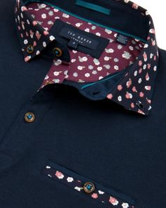Printed collar polo shirt - Navy   Tops & T-shirts   Ted Baker UK