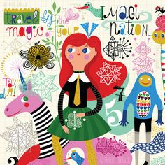 Travel by Magic - by helen dardik.  Limited edition giclee print of an original illustration. Printed on Epson velvet fine art stock (100% cotton