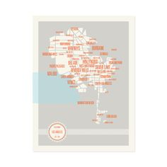 "Los Angeles Neighborhoods Map $23.99 Product Details — Grid Composition  — Includes Neighborhood Names  — Three Color Fine Art Lithograph on Heavyweight Paper  — Frame Not Included  ColorsSky Blue, Warm Gray, Vivid Red MaterialsThree Color Fine Art Lithograph On Heavyweight Paper Measurements 18""L x 24""H Origin United States"