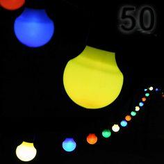 #Gartenlichterkette mit 50 bunten Lampions in Glühbirnen-Form (Ø 5 cm) LED-Lichterkette, Länge 12,5 + 5 m Zuleitung, ideal für die #Partybeleuchtung