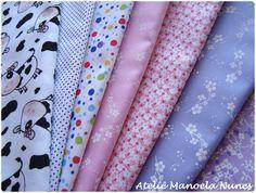 Materiais que utilizo em minhas peças: tecidos estampados com motivos diversos - vaquinhas, poás e florais.