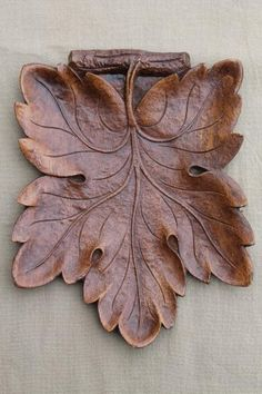 vintage Syroco Wood leaf shaped tray, rustic 'carved' wood black forest style