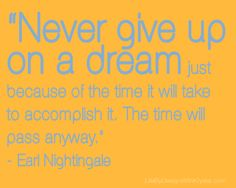 Never give uo on a drean because of the time it will take to achieve it.  The time will pass anyway.....