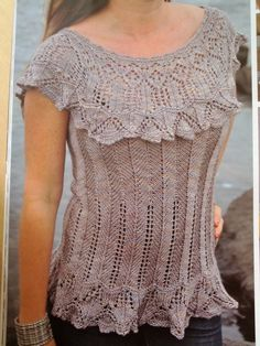 """the unsinkable Annie Modesitt - her lace tee, pattern only available in Aussie """"Yarn"""" mag #24"""