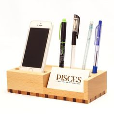 Wooden Mobile and Pen StandSturdy and durableHigh quality wooden madeFunctional, elegant desk accessory4 pen / pencil containers and 1 business card / mobile phone container stand stationery organizerConvenient and easy to use, creative and high quality, a nice gift to your families and friends