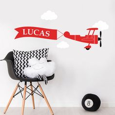 Personalised Plane Banner Clouds Children Bedroom Mural Wall Sticker Wall Decal