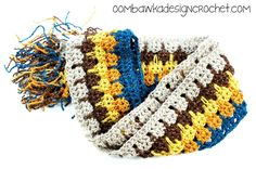 This skinny scarf @oombawkadesign  made with Bonbons looks perfect for cheering on your favorite sports team.  Check out her crochet pattern.