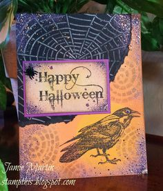 Stamp This!: A Raven Halloween with Dreamweaver Stencils and #Stampendous stamps. By Jamie Martin. #cre8time