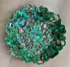 Ceramic Carved Bowl Peacock Green