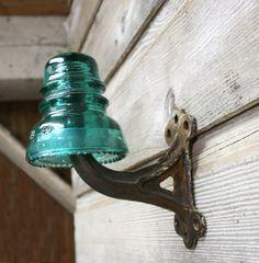 Vintage Industrial Insulator Coat Hook  Glass by AuroraMills, $35.00