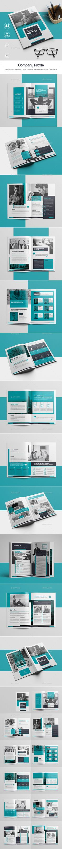 Company Profile Brochure Template InDesign INDD - 24 Custom Pages, A4 & US letter Size