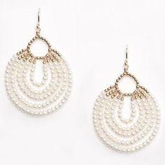 Fashion Femmes Elegant Blanc freshwate Pearl 18KGP Dangle Drop Crochet Boucles D/'oreilles