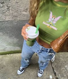 Indie Outfits, Cute Casual Outfits, Fashion Outfits, Girl Outfits, Aesthetic Fashion, Look Fashion, Aesthetic Clothes, Trendy Fashion, Aesthetic Green