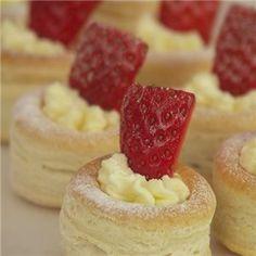 Strawberries and cream vol-au-vents