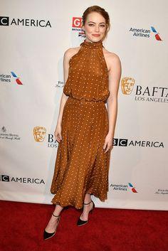 Emma Stone en Diane Von Furstenberg à la BAFTA Tea Party à l'hôtel Four Seasons à Los Angeles le samedi 7 janvier 2017
