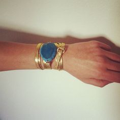 Leather wrap bracelet with Turquoise Agate stone por oiajules, $42.00