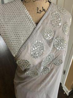 Designer Saree in Shimmer Georgette.. Whatsapp 9539820656 #shimmer #silver #maneeti