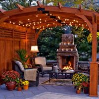 Pergola ideas backyard clww round pergola night 019 edited large are you searching for pergola ideas? take on a backyard project by building stylish pergola plans, a structure traditionally meant to provide shade with the vines growing overhead. Outdoor Rooms, Outdoor Gardens, Outdoor Living, Outdoor Decor, Outdoor Seating, Wood Pergola, Backyard Pergola, Desert Backyard, Backyard Ideas