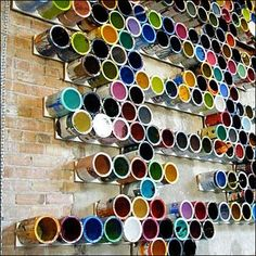 Empty Color Paint Can Color Array as Visual Merchandising Display. #repurpose #retail #merchandising