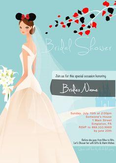 Disney themed bridal shower invitation