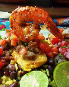 Diablo Shrimp with Crispy Plantain, Beans & Rice - Hispanic Kitchen