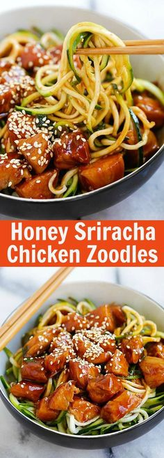 Honey Sriracha Chicken Zucchini Noodles – healthy zoodles with sweet and spicy honey sriracha chicken. So good you want this every day | rasamalaysia.com