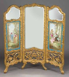 Napoleon III Carved and Gilded Three Panel Screen