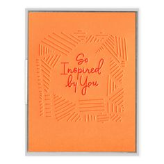 Letterpress-printed greeting card with signature INK MEETS PAPER® recycled kraft envelope. Sympathy Greetings, 1960s Inspired, Orange Paper, Happy Birth, Letterpress Printing, Kraft Envelopes, Vintage Signs, Peace And Love, Hand Lettering