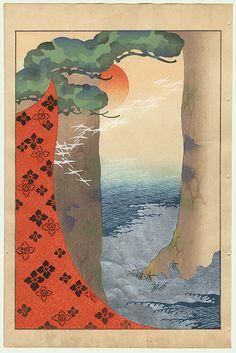 Meiji era Japanese Woodblock Print   View of the Ocean and Setting Sun through Pine Trees, 1901
