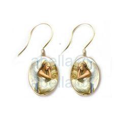 Sleeping angel earrings