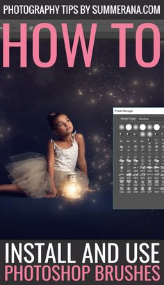 How to upload and use brushes in Photoshop + Video Tutorial.  When you open up Photoshop, you will probably be disappointed to see that your brushes don't magically appear in your brushes panel. But don't worry – it is quick and easy to get them installed.  Image is courtesy of Lindsey Lee Photography