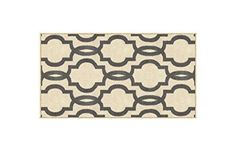 """Rubber Backed Mat 18"""" x 32"""" Fancy Moroccan Trellis Ivory & Grey Doormat Accent Non-Slip Rug - Rana Collection Kitchen Dining Living Hallway Bathroom Pet Entry Rugs RAN204CRM-12"""