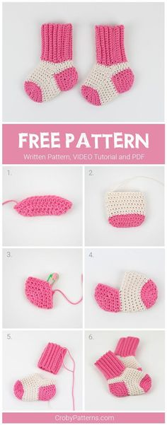 FREE Crochet Pattern for Baby Socks - pattern by Croby Patterns