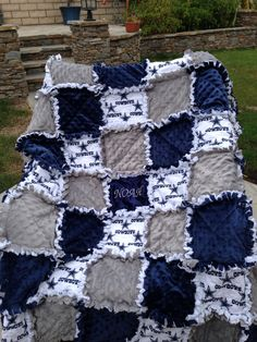 Items similar to Rag quilt blanket for baby girl or boy in Dallas Cowboy Football Navy on Etsy Dallas Cowboys Football, Dallas Cowboys Blanket, Dallas Cowboys Crafts, Pittsburgh Steelers, Baby Rag Quilts, Cowboy Baby, Cowboy Gear, Camo Baby, Colchas Quilting