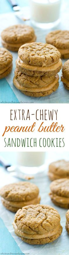 Filled with a luscious peanut butter cream filling and unbelievably easy to whip up, these extra-chewy peanut butter sandwich cookies are totally a peanut butter-lover's dream! /WholeHeavenly/