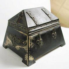 Antique Art Nouveau Jewelry Box Casket Metal by WickedDarling