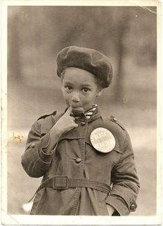"BLACK IS BEAUTIFUL  Unidentified African American girl. Coat button reads, ""Black Is Beautiful."" via vintagenoire."