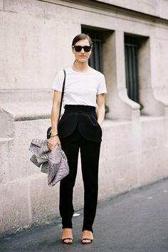black n white, fashion weeks, paris fashion, white outfits, street styles, black white, highwaist, style summer, black pants