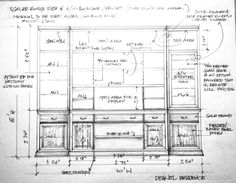 Casework/Millwork- Shop drawing for custom cabinetry for Nick Dehnel in Sugarland, Tx. This piece will be executed in stain grade alder with a medium brown stained finish. (drawing by Jared Meadors / Medusa Properties) Built In Furniture, Furniture Plans, Built In Shelves Living Room, Drafting Drawing, Interior Sketch, Interior Design, Drawing Furniture, Trim Carpentry, Elevation Drawing